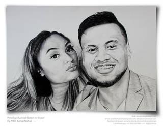 A SWEET COUPLE - Pencil Sketch- by Kamal Nishad