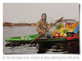FRUIT SELLER - (Male) Oil Painting by Kamal Nishad