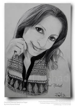 A GIRL'S SELFIE WITH SMILE -Sketch by Kamal Nishad