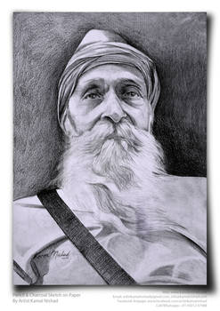 Old Man  Pencil  charcoal sketch by artist kamal