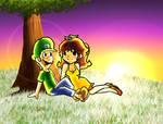 Luigi X Daisy - sunset