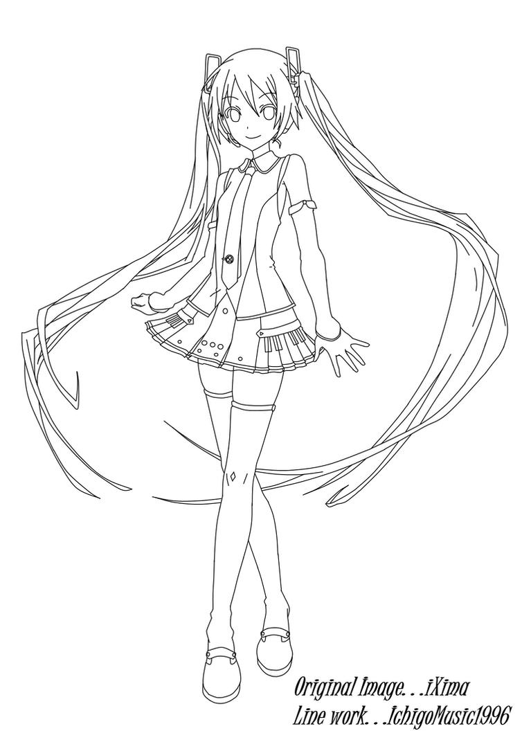 Line Drawing Vs Value Drawing : Hatsune miku v line art by ichigomusic on deviantart