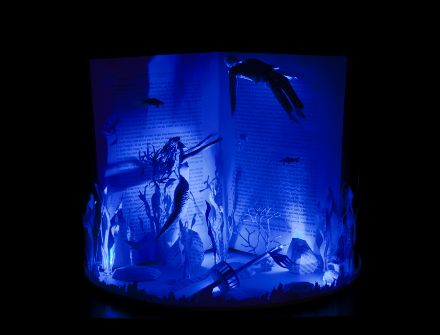 The Little Mermaid Book Sculpture with lighting