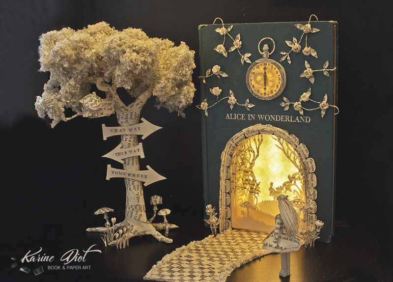 Alice and the Cheshire Cat Book Sculpture by KarineDiot