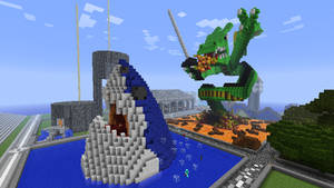 Minecraft - Shark and Dragon