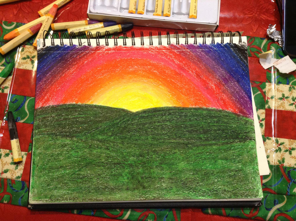 oil pastel sun set by thisistheonlyme