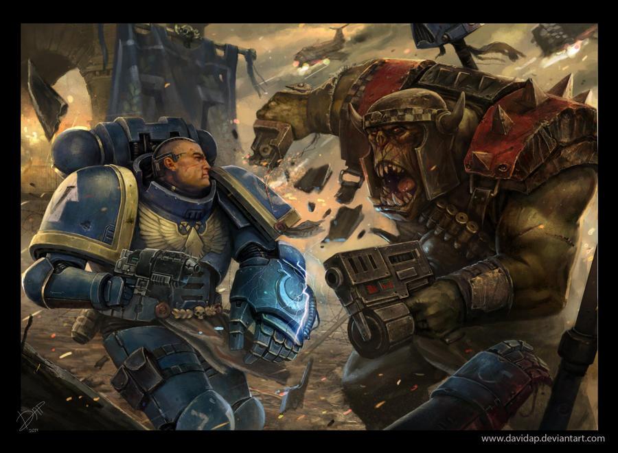 Ultramarine vs ork by DavidAP