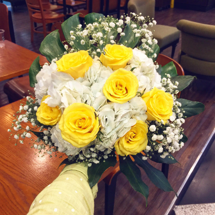 Before wrap yellow rose bouquet wip by rattree