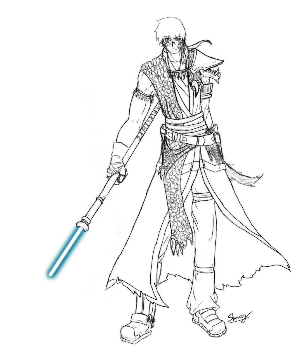 jedi coloring pages - jedi oc star wars by shawnzy on deviantart