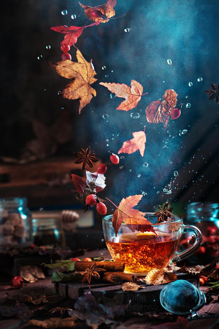 Briar tea with autumn swirl by dinabelenko