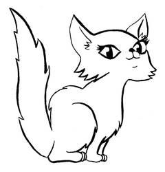 Furry kitty lineart