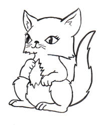 Furry kitty lineart 2