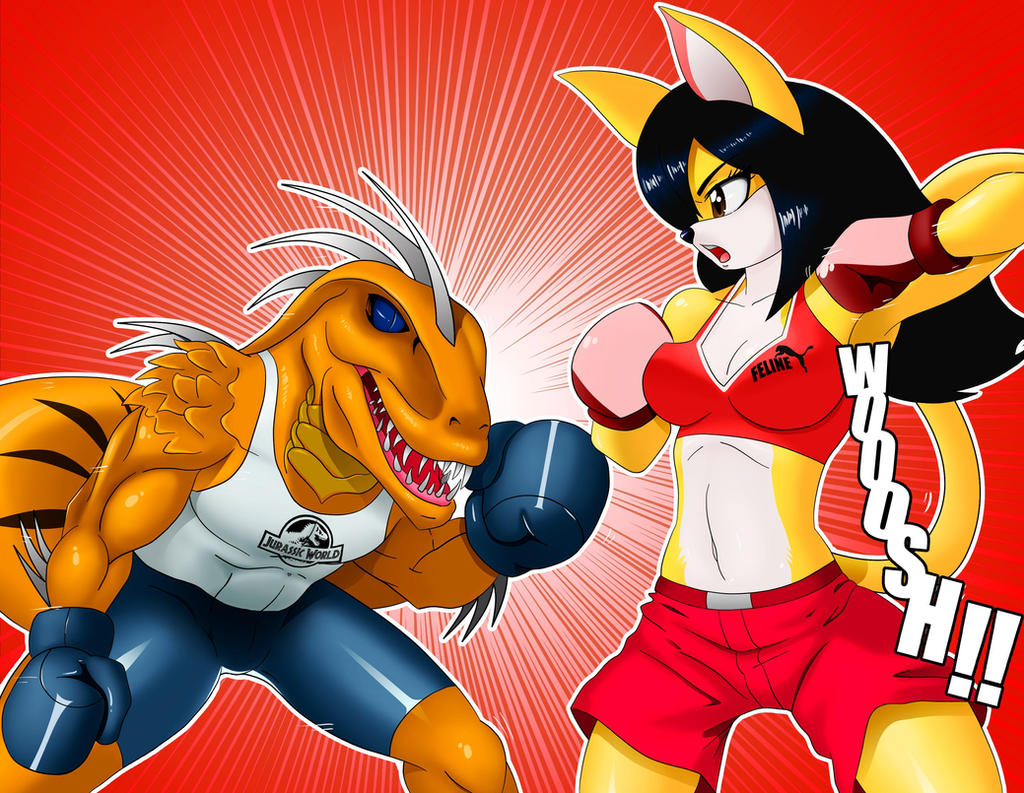 Quetzal boxing match (commission by Yoshivorous25) by chacrawarrior