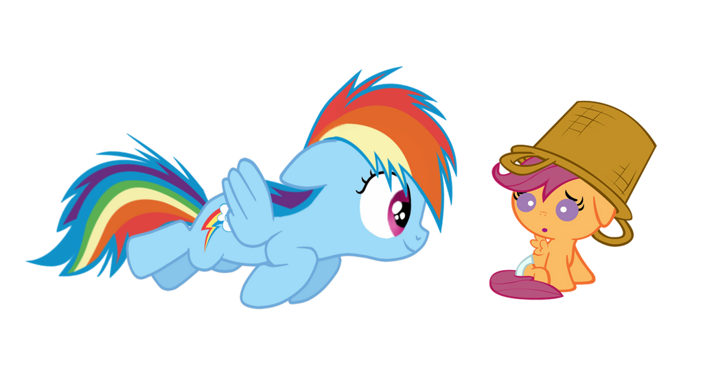 Filly Rainbow Dash And Baby Scootaloo By Rainbowsstar Mici Ponei