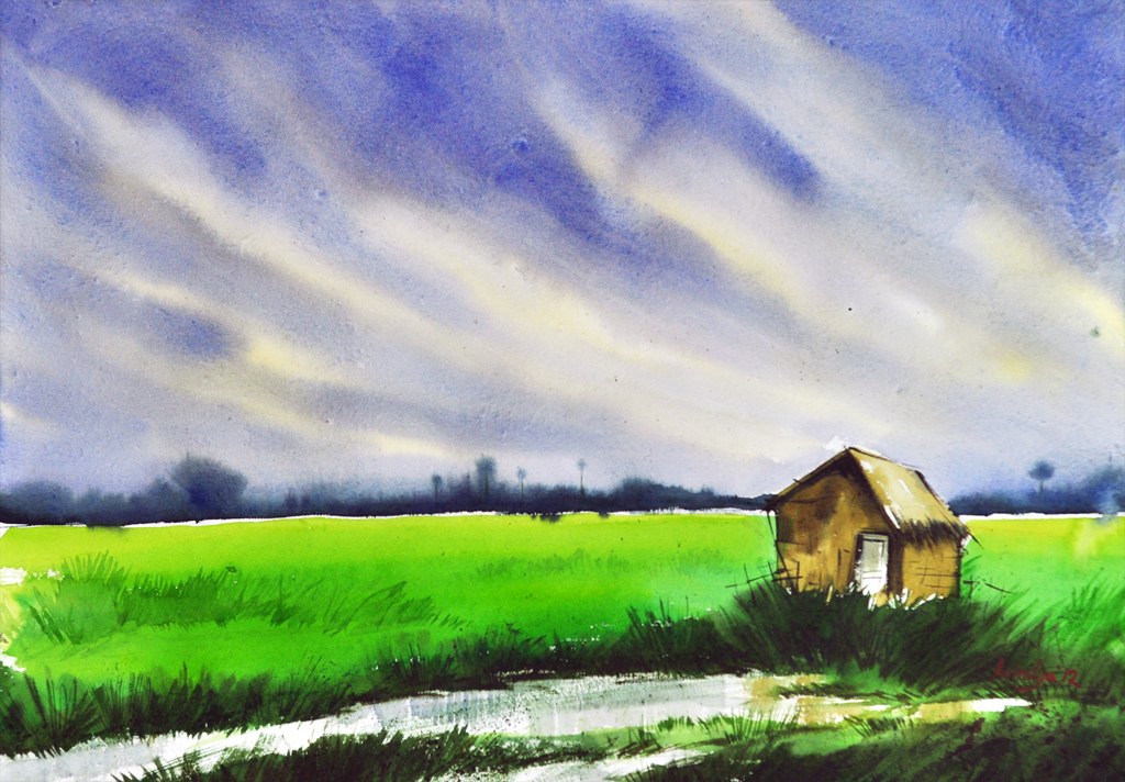 Simple landscape 03 by asbiswas on deviantart for Simple scenery paintings
