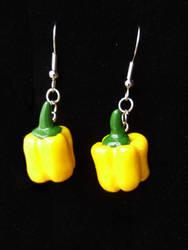 Yellow Bell Pepper Dangle Earrings Clay