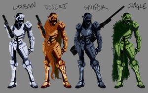 Female Combat Armor Variations by Nuke-Em-Nic