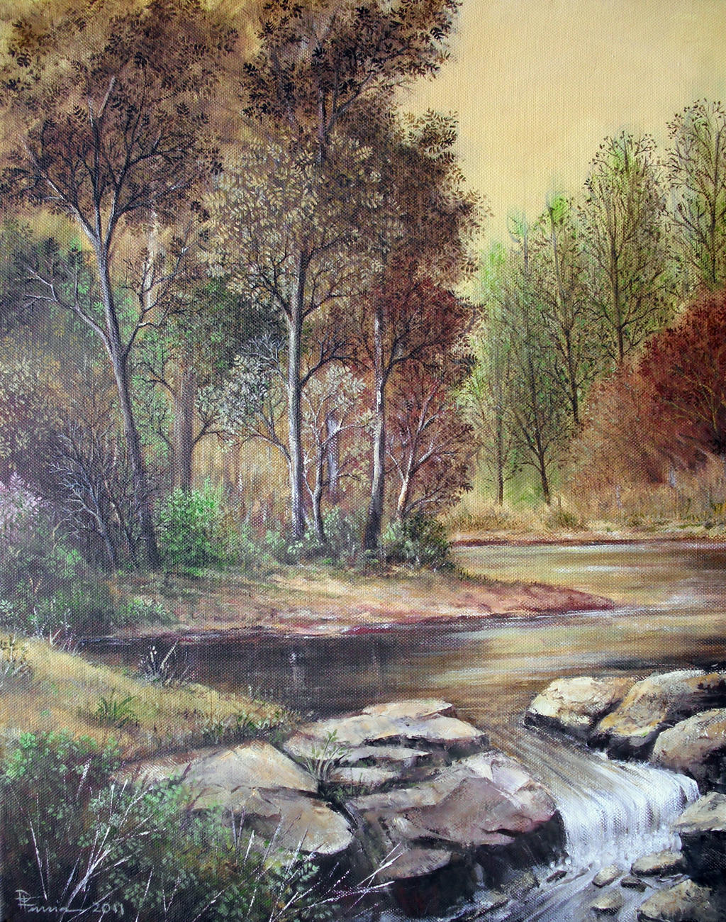 Wood & Water Oil Painting by Boias