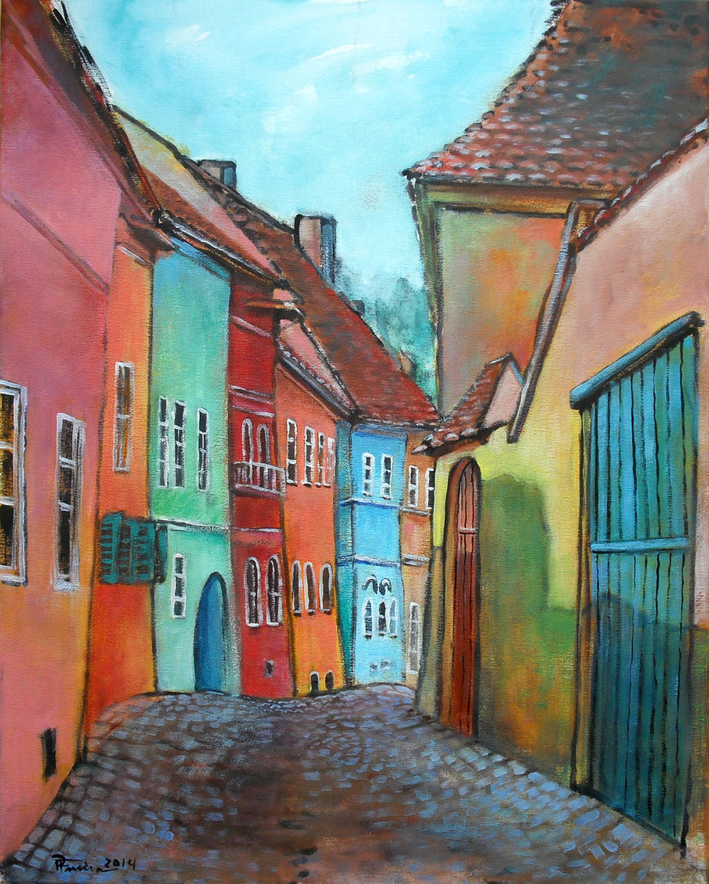 Village (acrylic) by Boias