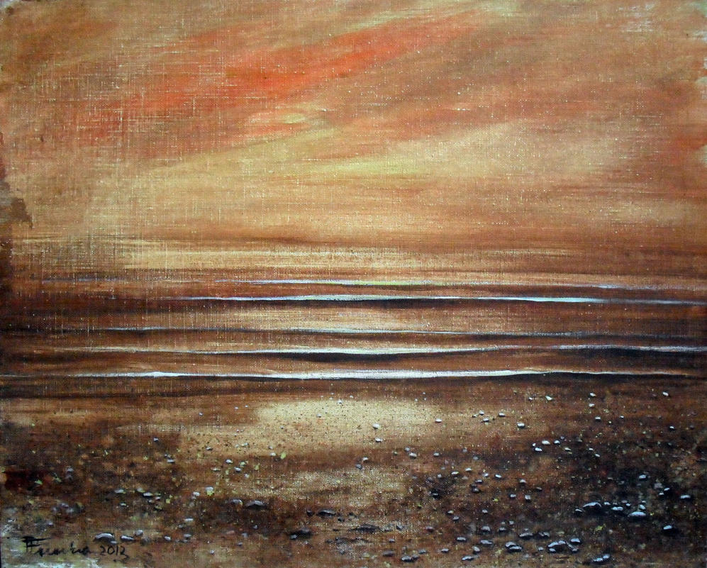 Seascape sunset tempera by Boias