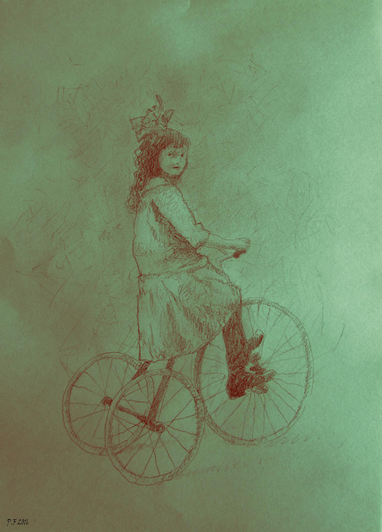 Girl on a tricycle by Boias