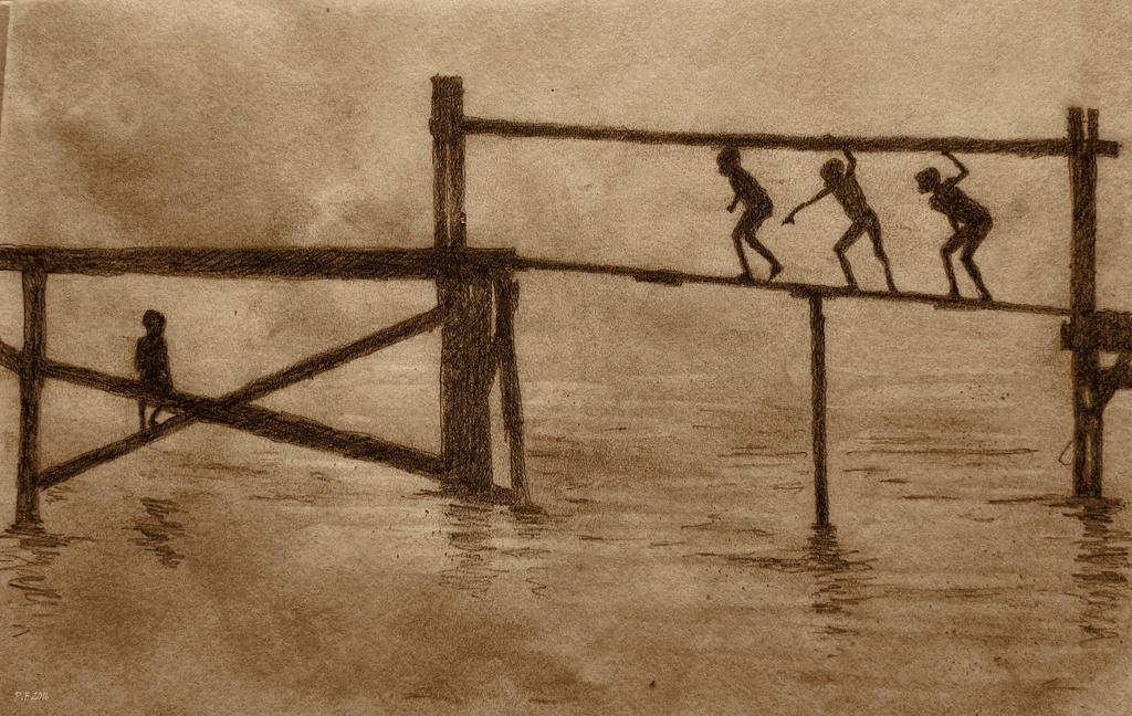 Playing on a pier by Boias