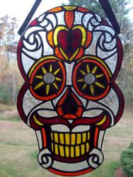 Scarlet Mustachio Sugar Skull by AigneadhAigeann