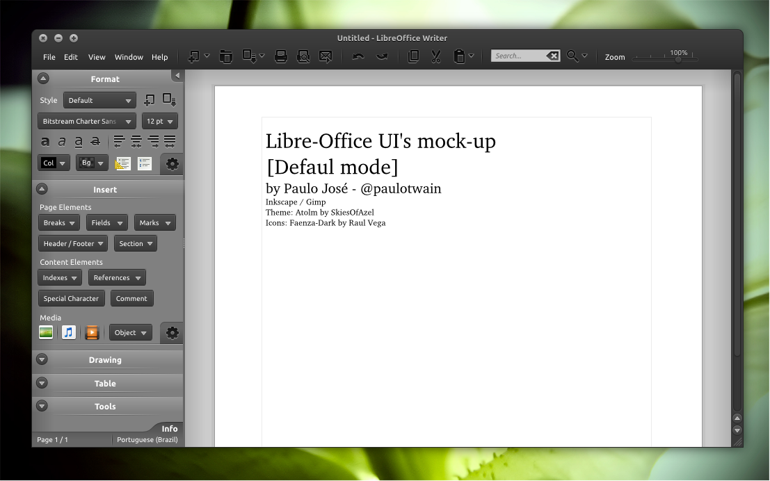 LibreOffice UI Mock-up dark 1 by pauloup