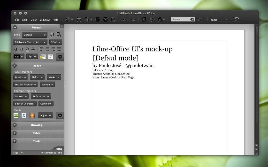 LibreOffice UI Mock-up dark 1 by pauloup