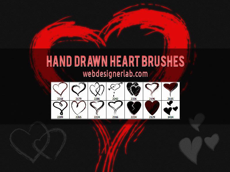 Hand Drawn Heart Brushes by xara24