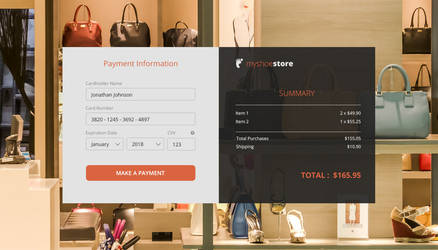 DailyUI Challenge, Card Checkout Form
