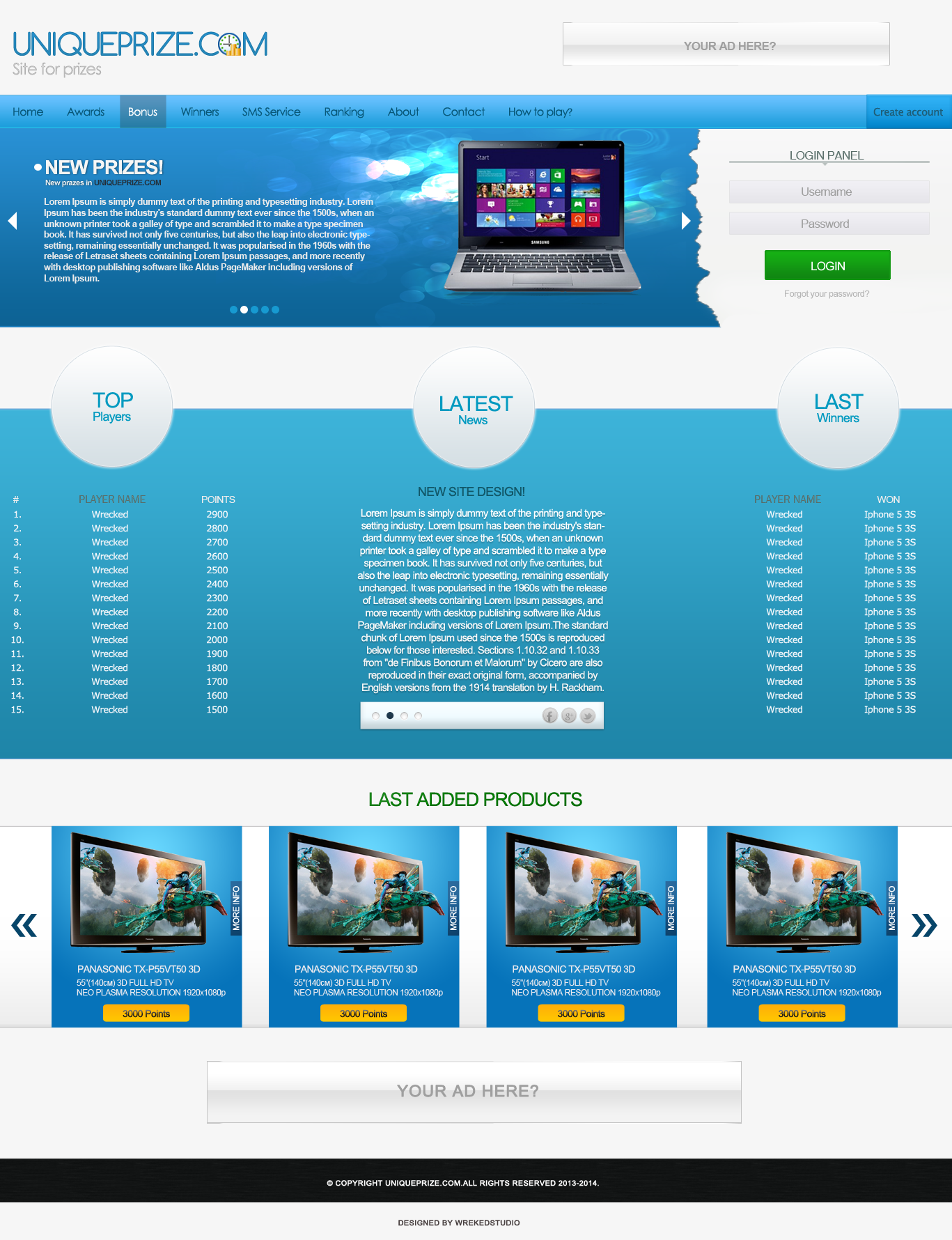 UNIQUEPRIZE.COM - Site for prizes [Web Design] by mconev