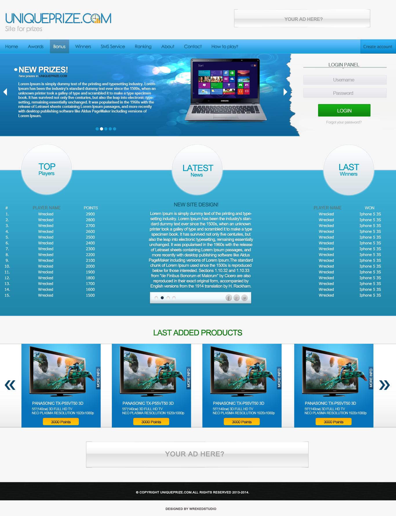 UNIQUEPRIZE.COM - Site for prizes [Web Design] by mconev