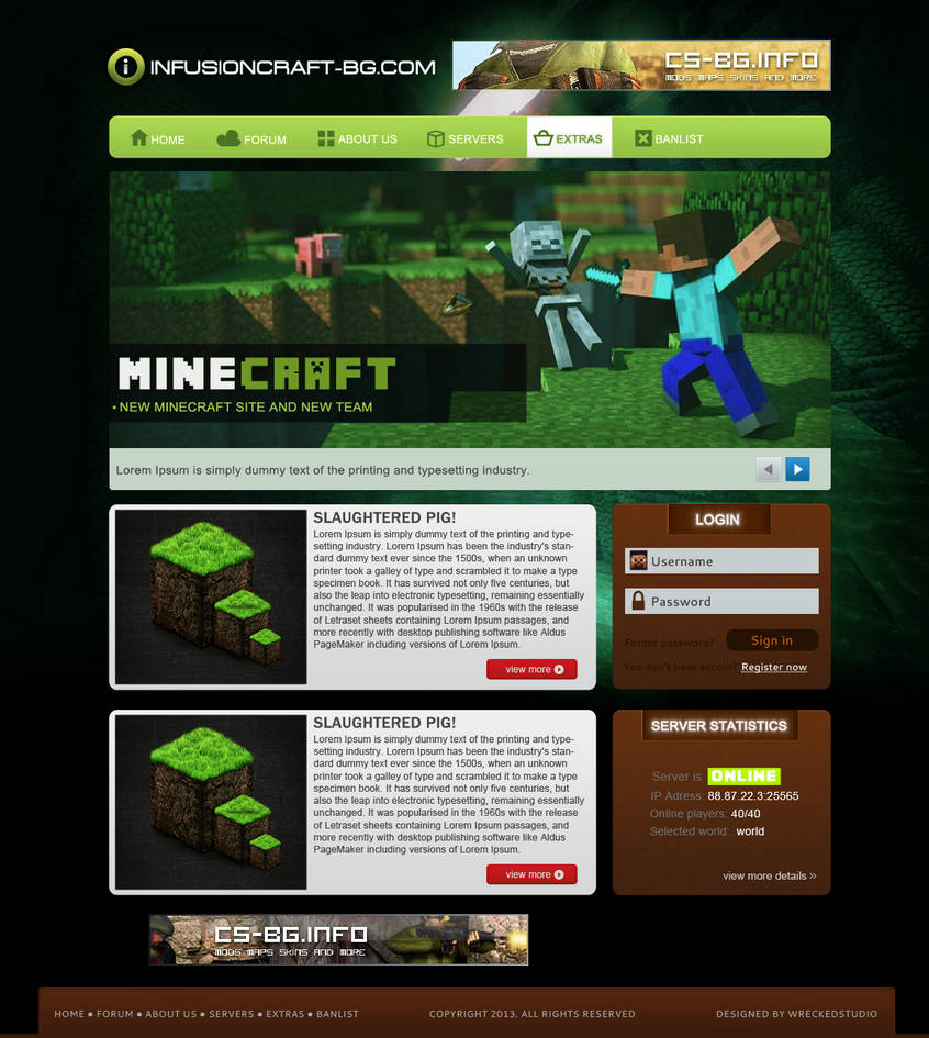 html шаблоны для майнкрафт сайта #2
