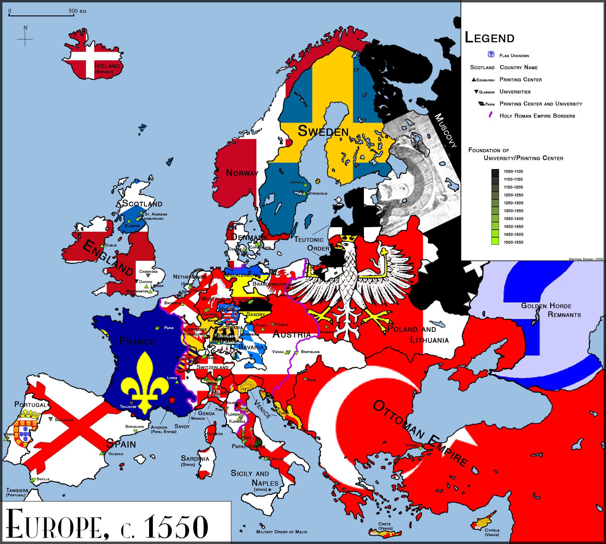 Map Of Europe 1550 Papegaaienparadijs