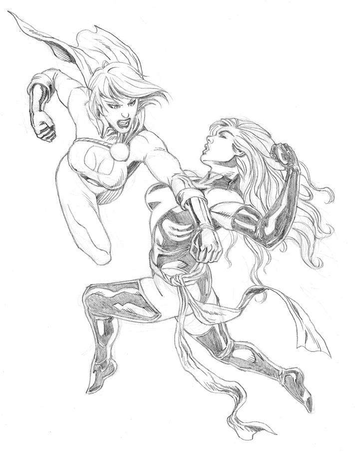Power Girl vs. Miss Marvel by arielmedel