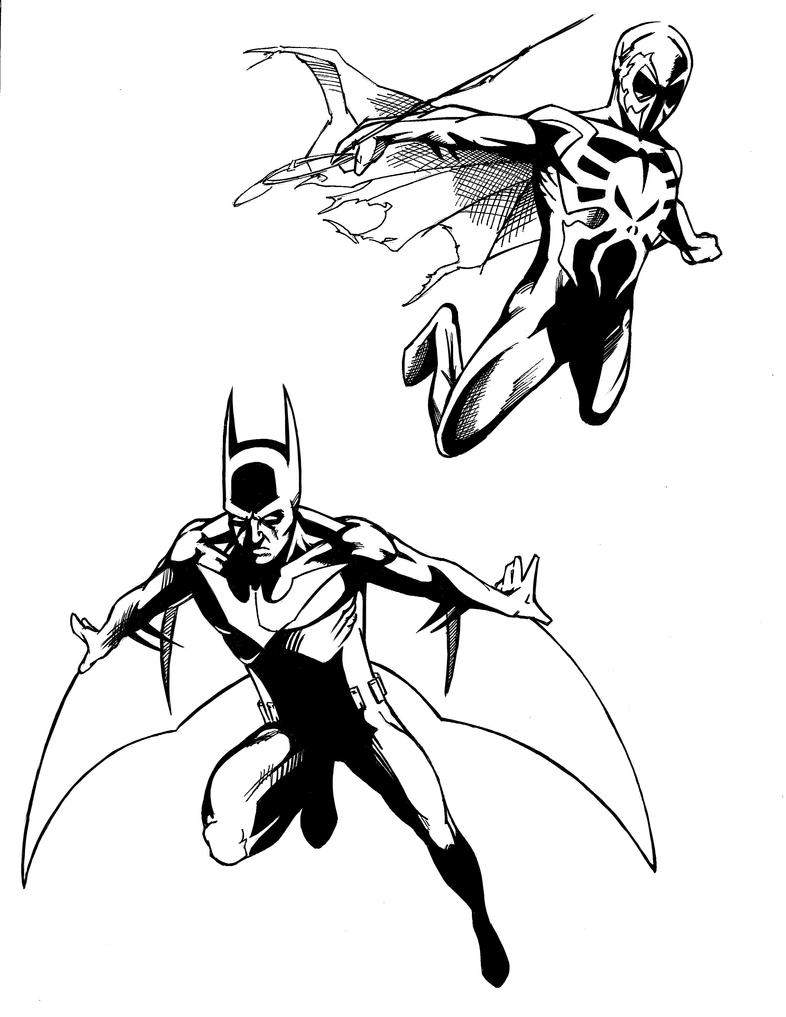 Batman Beyond and Spiderman 2099  Inked by MrSinister616 on