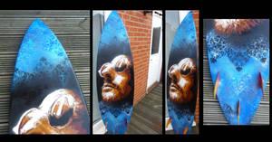 Leon on surf board by Sabin23