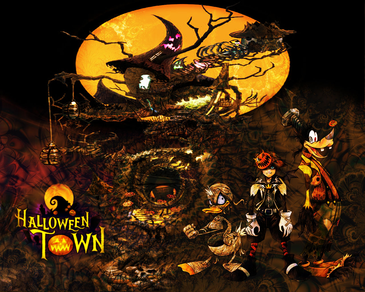 Fantastic Wallpaper Halloween Nightmare Before Christmas - halloween_town_wallpaper_v2_0_by_wild_espy  Snapshot_213287.jpg