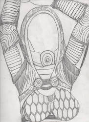Sketch Daily #56 - Tali Stretch by MechaKraken