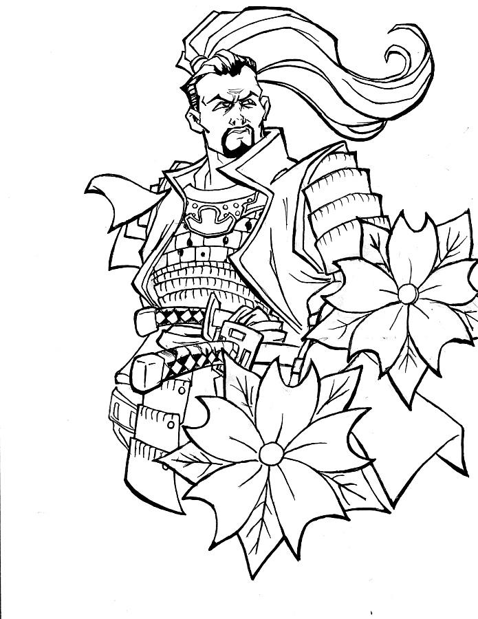 Japanese Tattoo Line Drawing : Sorveign samurai by kcool on deviantart