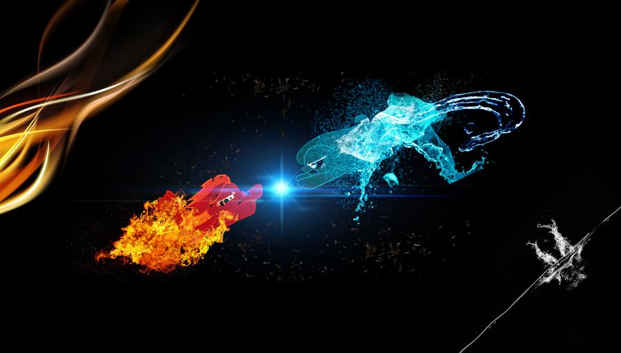 Rainbow Fire vs Flutter Watter - Wallpaper version by ...