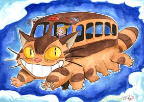 Lucie in the Cat Bus by JekyllToons