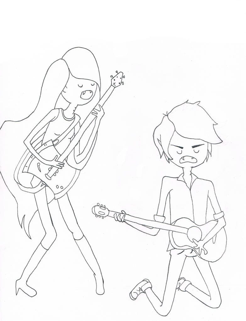 Marceline and marshall lee by winglessbird on deviantart for Marceline coloring pages
