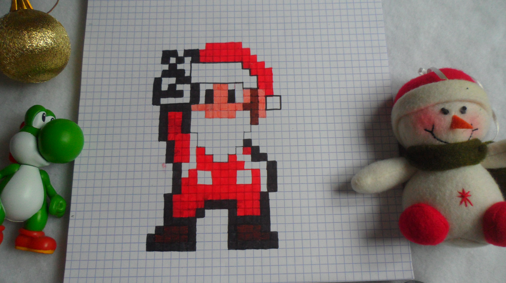 Christmas mario pixel art by crococraft on deviantart for Craft fairs in ct december