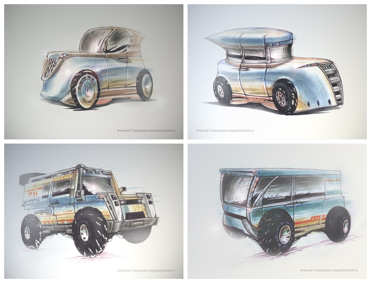 Concept sketches of cars by Alexey-Starodumov