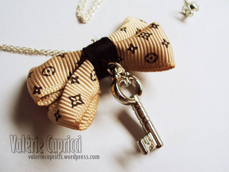 Monogram Bow and Key Necklace