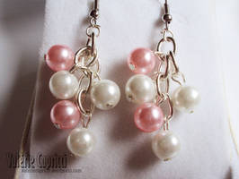 Grape Pink and White Earrings
