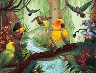Conure Jungle by BrookeTBigelow