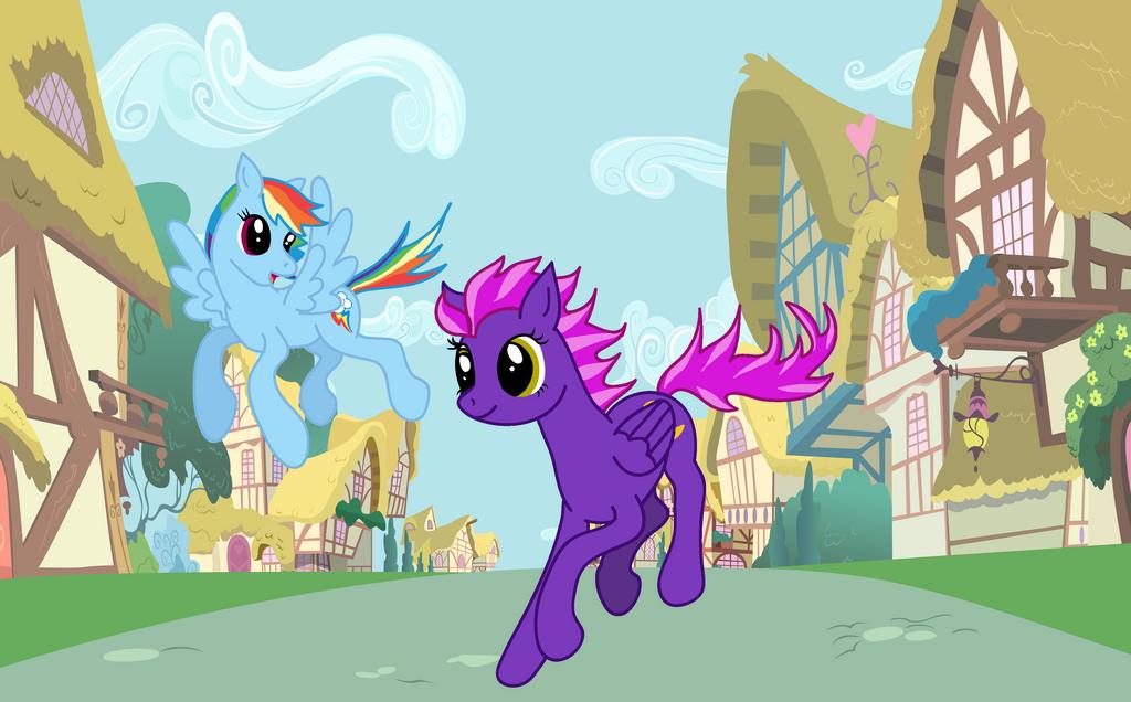 Showing speed to Rainbow Dash by cayfie